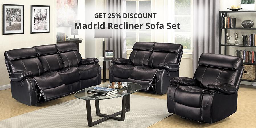Madrid Black Leather Recliner Sofa Set 3+2+1
