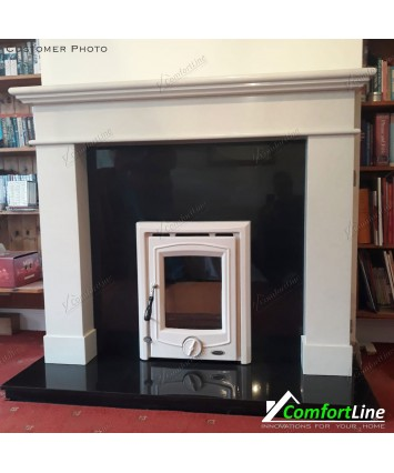 Balmoral White Marble fireplace with Vitae insert Stove