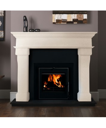 Veneto Cream Marble fireplace with contemporary Insert Stove