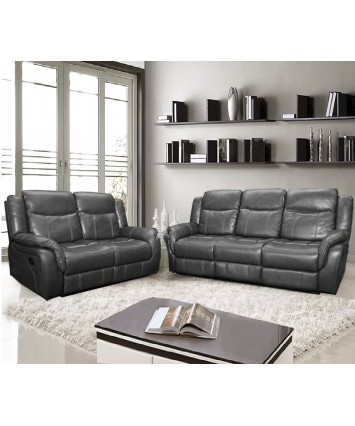 Brooklyn Recliners Set 3+2 grey Leather