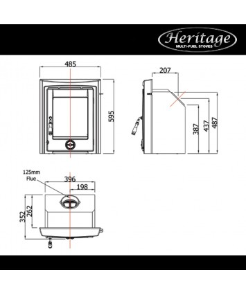 Heritage Pollmore 5kw Multi Fuel Inset stove, enamel