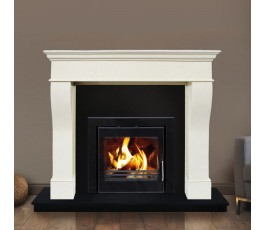 PISA FIREPLACE SET + INSERT STOVE 9KW, FULLY FITTED